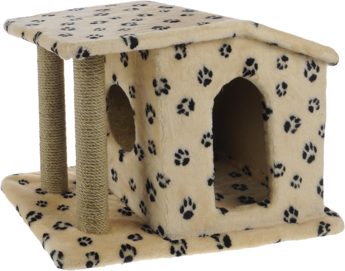 Игровой комплекс для кошек Меридиан Патриция, с домиком и когтеточкой, цвет: бежевый, черный, 63 х 40 х 41 см0120710Игровой комплекс для кошек Меридиан Патриция выполнен из высококачественного ДВП и ДСП и обтянут искусственным мехом. Изделие предназначено для кошек. Ваш домашний питомец будет с удовольствием точить когти о специальные столбики, изготовленные из джута. А отдохнуть он сможет в оригинальном домике.