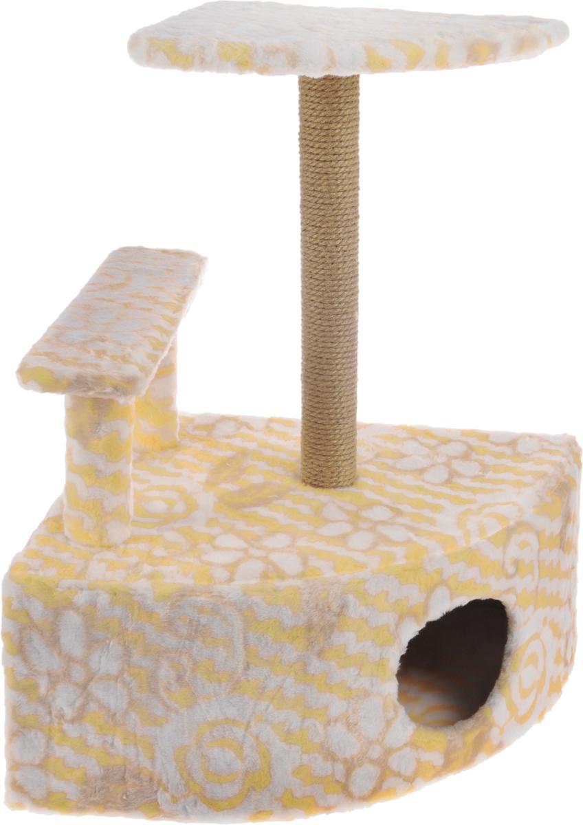 Игровой комплекс для кошек Меридиан, угловой, с домиком и когтеточкой, цвет: белый, оранжевый, бежевый, 58 х 48 х 79 см0120710Игровой комплекс для кошек Меридиан выполнен из высококачественного ДВП и ДСП и обтянут искусственным мехом. Изделие предназначено для кошек. Комплекс оснащен ступенькой. Ваш домашний питомец будет с удовольствием точить когти о специальный столбик, изготовленный из джута. А отдохнуть он сможет либо на полке, находящейся наверху столбика, либо в расположенном внизу домике.Общий размер: 58 х 48 х 79 см.Размер полки: 37 х 37 см.Высота ступеньки: 23 см.Размер домика: 58 х 48 х 28 см.