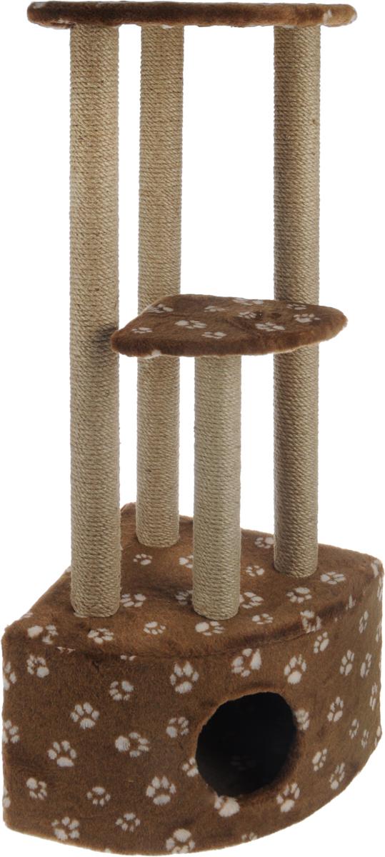 Игровой комплекс для кошек Меридиан, 3-ярусный, угловой, с домиком и когтеточкой, цвет: темно-коричневый, бежевый, 42 х 42 х 110 см0120710Игровой комплекс для кошек Меридиан выполнен из высококачественного ДВП и ДСП и обтянут искусственным мехом. Изделие предназначено для кошек. Комплекс имеет 3 яруса. Ваш домашний питомец будет с удовольствием точить когти о специальные столбики, изготовленные из джута. А отдохнуть он сможет либо на полках, либо в расположенном внизу домике.Общий размер: 42 х 42 х 110 см.Размер домика: 42 х 42 х 28 см.Размер большой полки: 35 х 35 см.Размер малой полки: 26 х 26 см.