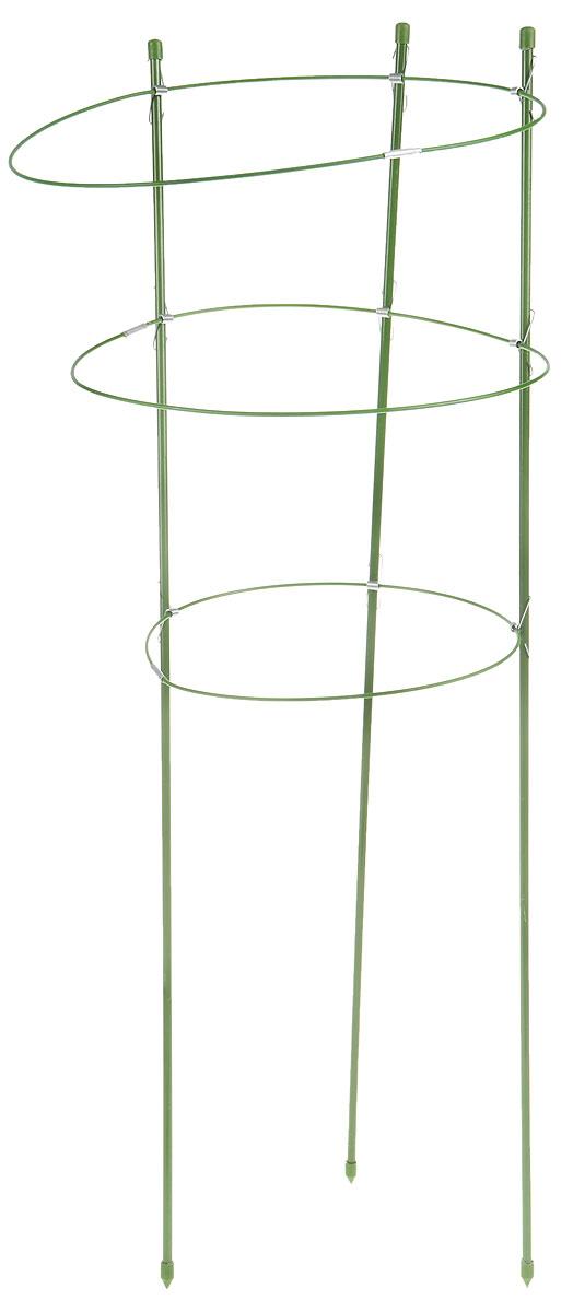 Опора для растений Listok, с 3 кольцами, высота 75 смK100Опора Listok состоит из 3 колец и используется в качестве поддержки для садовых и комнатных растений. Благодаря ПВХ покрытию она не подвержена воздействию окружающей среды. За счет зеленого цвета опора не отвлекает на себя внимание от цветка или кустарника.Высота опоры: 75 см. Диаметр колец: 22 см; 26 см; 28 см.
