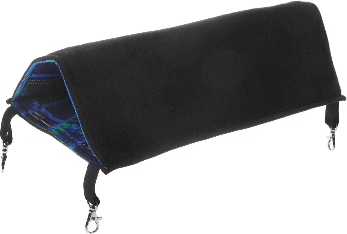 Гамак для грызунов Гамма №3, цвет: черный, сине-зеленый, 16 х 40 см0120710Гамак для грызунов Гамма №3 - это интересный аксессуар для клетки вашего любимца. Гамак изготовлен из качественной фланелевой ткани с наполнением из прессованного синтепона, благодаря чему он мягкий, теплый и уютный. Кроме того гамак оборудован четырьмя карабинами с помощью которых его можно зафиксировать в необходимом положении внутри клетки. Внутри гамака вашему питомцу будет тепло и уютно, он сможет скрыться от глаз и спокойно поспать в мягкой лежанке. Так же стоит заметить что гамак легко стирается как вручную, так и с помощью стиральной машинки.Украсьте клетку своего маленького любимца лежанкой с интересным решением в виде гамака и подарите грызуну немножко комфорта.Размер гамака: 16 х 40 см. Диаметр гамака: 11 см.