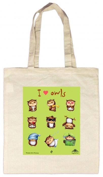 Сумка I Love Owls, 35 х 39 смБрелок для ключейСмешные совы теперь и на сумках! Легкая, удобная сумка из плотной ткани с цветным рисунком любимых персонажей станет отличным спутником на каждый день. Длина ручки позволяет носить ее на плече. Смешные надписи и авторские рисунки сов от Инги Пальцер будут радовать вас каждый день. А также станут отличным подарком для друзей.