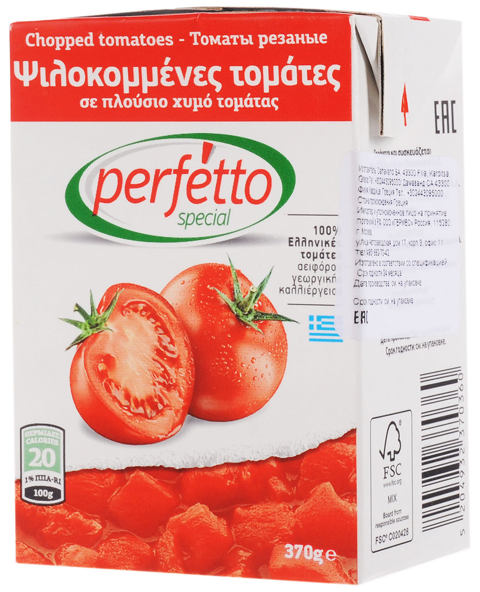 Perfetto special Томаты резаные очищенные в собственном соку, 370 г0120710Томаты Perfetto special - это красные спелые помидоры, собранные летом в Греции и нарезанные кубиками для вашего удобства. Используйте эти помидоры для приготовления блюд традиционной кухни (борща, гуляша, шурпы, икры из баклажанов и кабачков и т.д.).