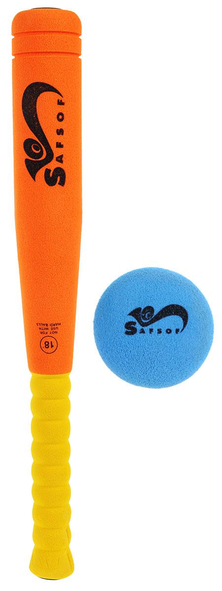 Safsof Игровой набор Бейсбольная бита и мяч цвет оранжевый желтый голубой - Бейсбол