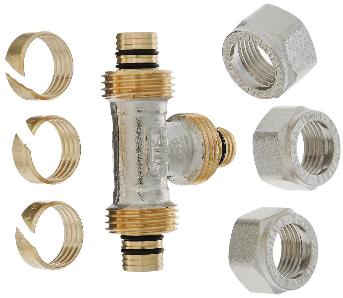 Тройник Fornara, ц - ц - ц, 16 х 2,0ИС.080348Тройник Fornara - это фитинг для металлопластиковых труб систем отопления, водоснабжения, технологических установок. Предназначен для соединения металлополимерных труб на основе обычного, сшитого или термоустойчивого полиэтилена и может применяться в инженерных и технологических системах с рабочей температурой до 115 °С.