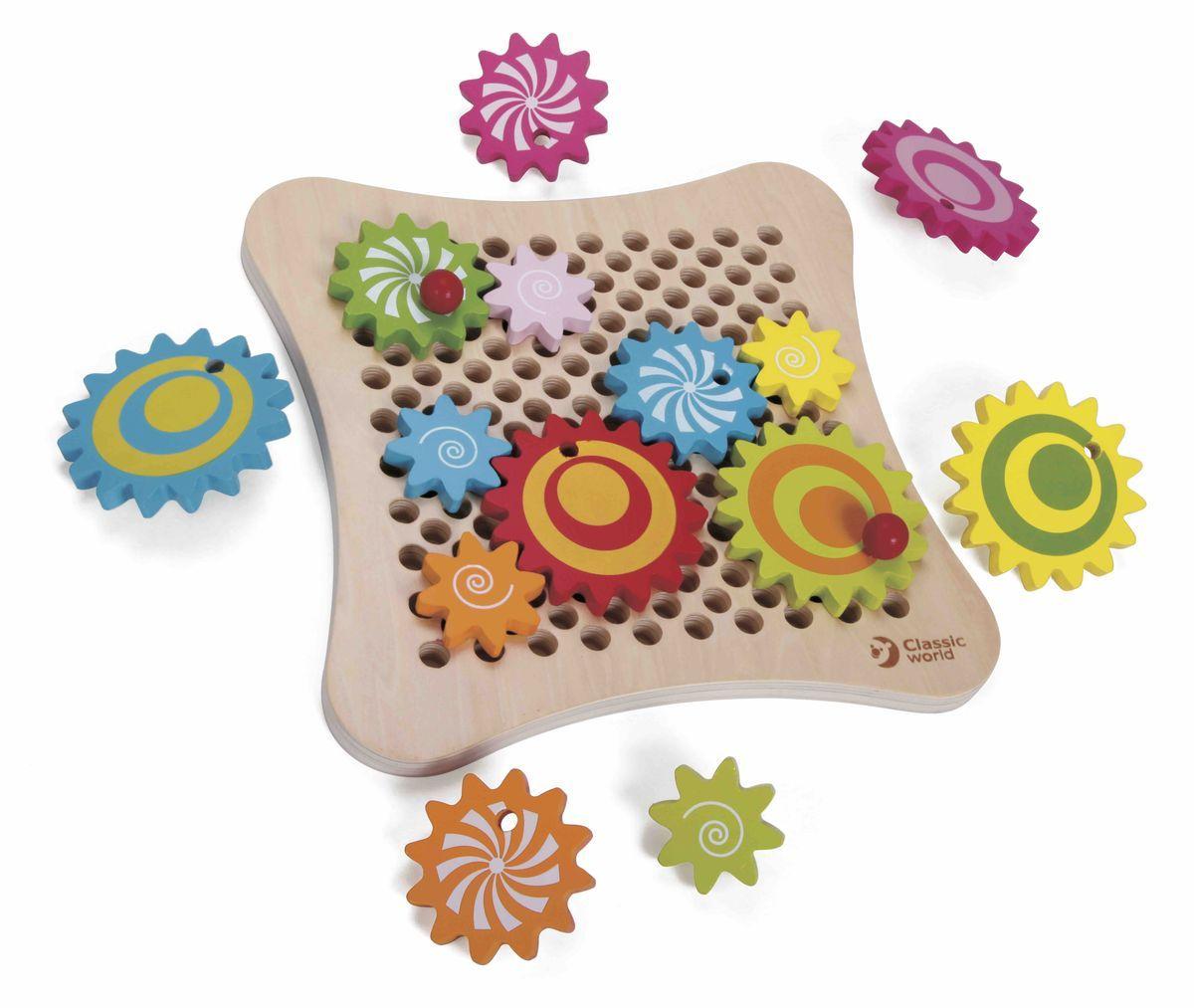 Classic World Развивающая игра Веселые шестеренки деревянные игрушки classic world развивающая игра весёлые шестерёнки