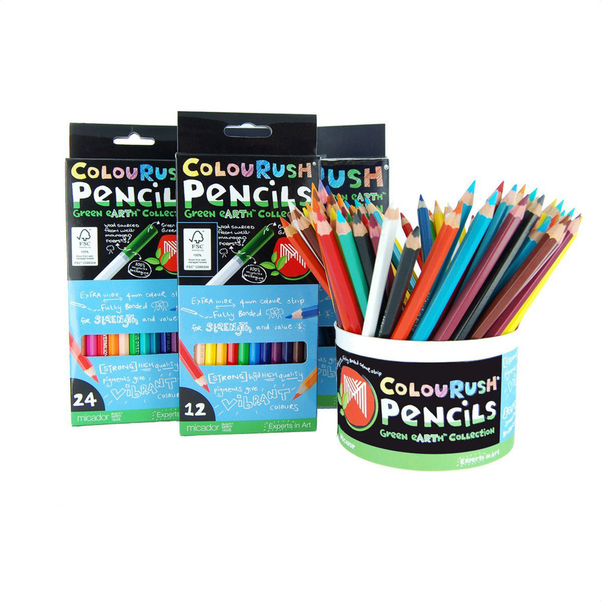 Micador Цветные эко-карандаши 24 цветаFPLMP24Цветные эко-карандаши Micador не оставят равнодушным ни одного ребенка. Многообразие ярких и насыщенных цветов, есть даже золотой, серебряный и телесный цвета!Благодаря высокому качеству древесной оболочки, обеспечивается ровное и гладкое затачивание что исключает покупать все новые и новые карандаши. Грифель имеет больший диаметр (4 мм), чем обычно, что позволит не так часто затачивать карандаши, а также позволяет намного быстрее и без дополнительных усилий разукрашивать большие рисунки. Карандаши не крошатся при рисовании, не трескаются при падении, легко затачиваются.Не содержат токсических веществ, полностью безопасны для маленьких детей. Изготовлены с использованием солнечной энергии, полностью перерабатываемая упаковка. Сделаны с любовью к природе и детству!Рисование развивает творческие способности, воображение, логику, память, мышление. Пусть мир вашего ребенка будет ярким и безопасным!Австралийский бренд Micador - эксперт в товарах для детского творчества с 1954 года.