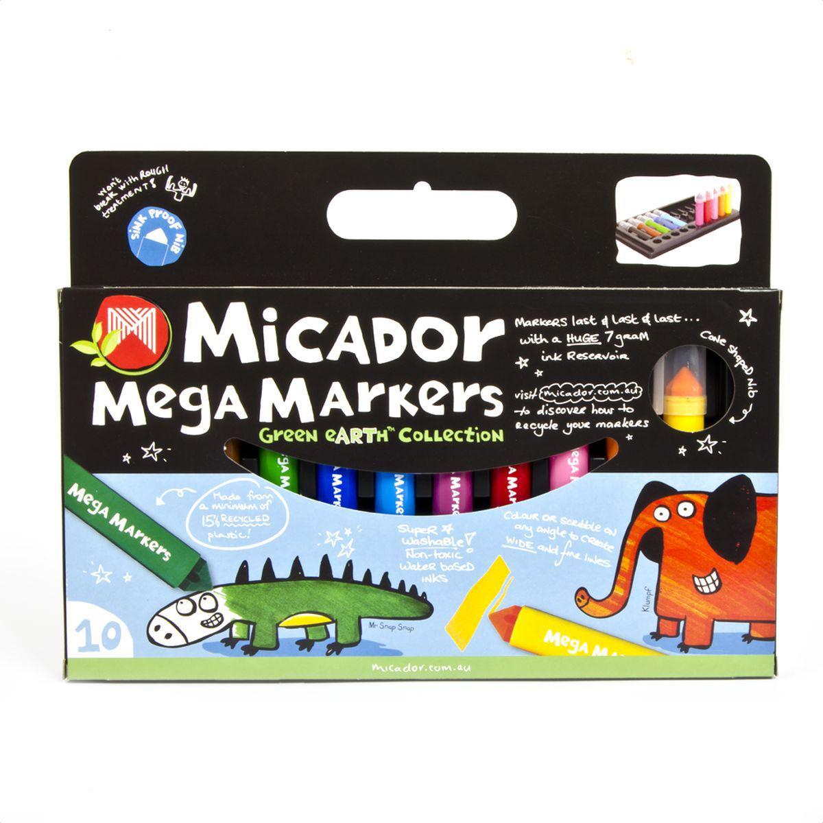 Micador Безопасные фломастеры увеличенного объема 10 цветов730396Фломастеры Micadorна водной основе, экологичные, не содержат спирт, растворителей, токсичных веществ, полностью безопасны для маленьких детей. Увеличенный резервуар для чернил делает фломастеры долговечными, каждый фломастер содержит 8 мл чернил, что в 4 раза больше обычных фломастеров.Стержень конической формы позволяет делать и широкие, и тонкие линии. Вентилируемый колпачок предотвращает высыхание чернил.Сухие фломастеры легко можно восстановить, всего лишь опустив наконечник в воду. Широкий корпус делает фломастеры удобными для маленьких детских ладошек.Изготовлены по запатентованной технологии Easy Wash: легко отстирываются от любой поверхности даже в холодной воде.Экологичная, 100% перерабатываемая упаковка. Изготовлены с использованием солнечной энергии и с заботой об окружающей среде.Австралийский бренд Micador - эксперт в товарах для детского творчества с 1954 года.