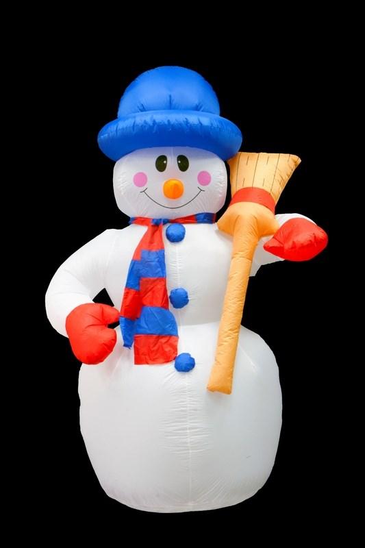 """3D фигура надувная Neon-Night """"Снеговик с метлой"""", с подсветкой, высота 240 см"""