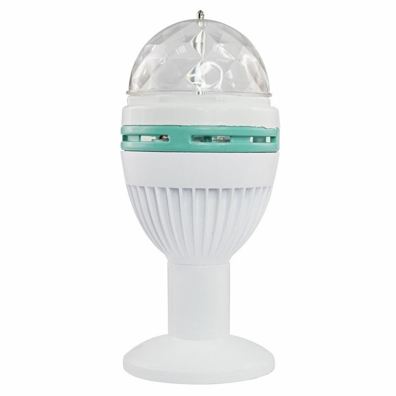 Диско-лампа светодиодная Neon-Night, цоколь e27, с подставкой, 220ВC0044702Светодиодная диско-лампа представляет собой устройство для создания эффекта светомузыки. Выполнена из пластикового корпуса в виде привычной лампочки, содержит внутри моторчик, который создает динамическое вращение потока разноцветных лучей. Благодаря цоколю е27 вы можете легко вкрутить диско-лампу в Вашу люстру или торшер и устроить настоящую вечеринку прямо у вас дома или на даче. Также Вы можете использовать цоколь на подставке, который идет в комплекте - просто вкрутите в него Вашу диско-лампу и подсоедините шнур питания подставки к сети 220В. Таким образом, установить диско-лампу можно на любую удобную поверхность, а специальные отверстия в подставке позволяют ее смонтировать на стену или потолок. Не ограничивайте себя в вопросе выбора места Вашей дискотеки! Создайте вечеринку уже сейчас!