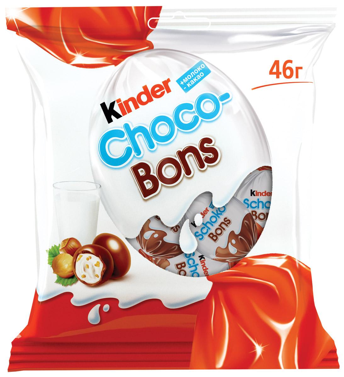 Kinder Choco Bons конфеты из молочного шоколада с молочно-ореховой начинкой, 46 г0120710Нежная молочная начинка, кусочки лесных орехов и неповторимый вкус шоколада. Kinder Choco-Bons производится на одной из фабрик компании Ферреро в Бельгии, славящейся своими шоколадными традициями. Удобные пакетики разных размеров (46 г и 125 г) подойдут и для скромной, и для большой компании! Конфетки в индивидуальной упаковке удобно брать с собой. Дома, в школе, на прогулке – наслаждайтесь сами, радуйте друзей и близких каждый день!