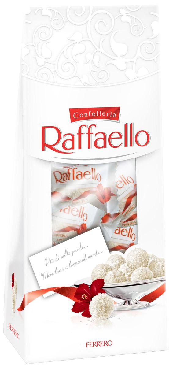 Raffaello конфеты с цельным миндальным орехом в кокосовой обсыпке, 80 г0120710Конфеты Рафаэлло с цельным миндальным орехом в кокосовой обсыпке.
