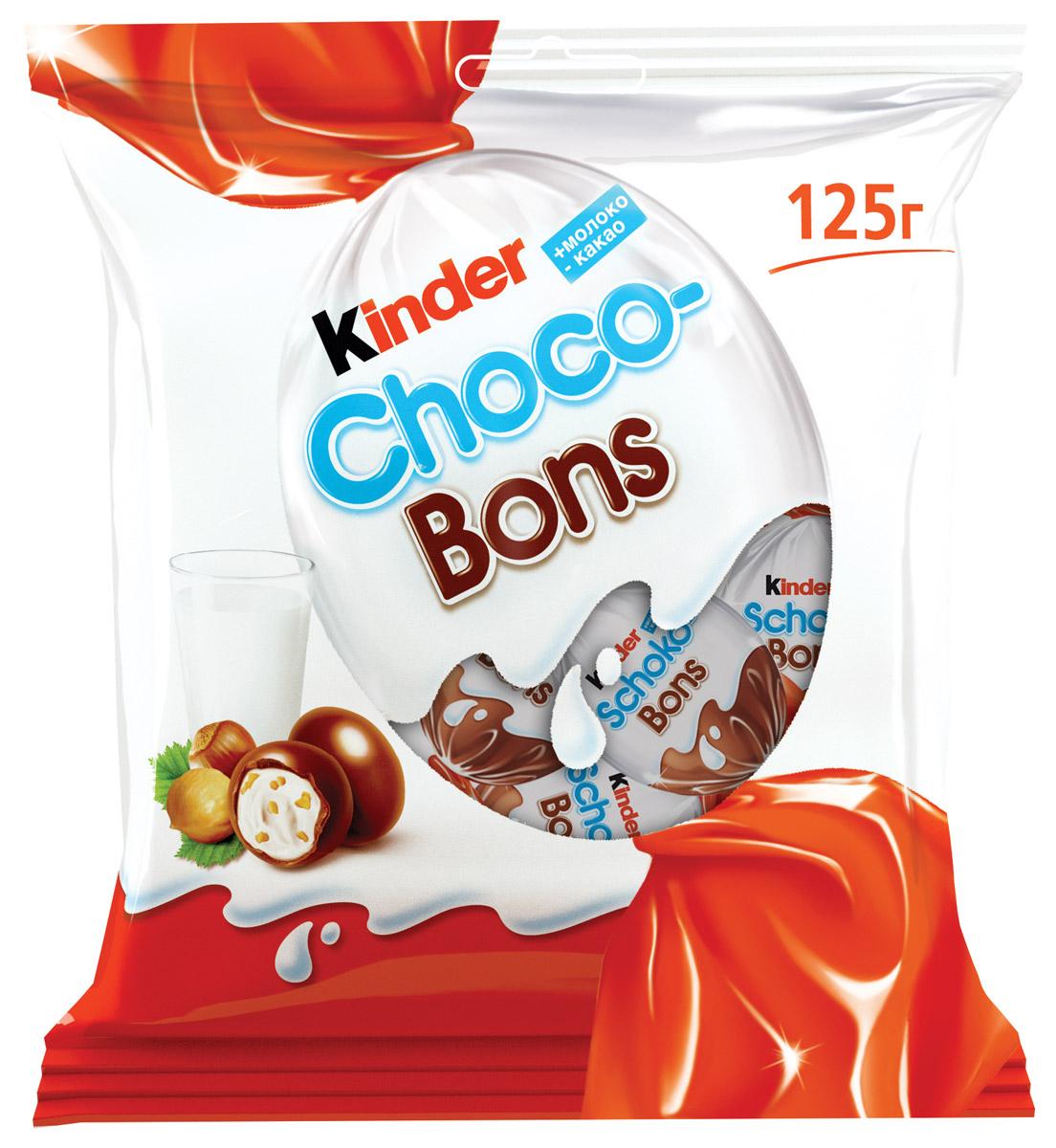 Kinder Choco Bons конфеты из молочного шоколада с молочно-ореховой начинкой, 125 г5060295130016Нежная молочная начинка, кусочки лесных орехов и неповторимый вкус шоколада. Kinder Choco-Bons производится на одной из фабрик компании Ферреро в Бельгии, славящейся своими шоколадными традициями. Удобные пакетики разных размеров (46 г и 125 г) подойдут и для скромной, и для большой компании! Конфетки в индивидуальной упаковке удобно брать с собой. Дома, в школе, на прогулке – наслаждайтесь сами, радуйте друзей и близких каждый день!