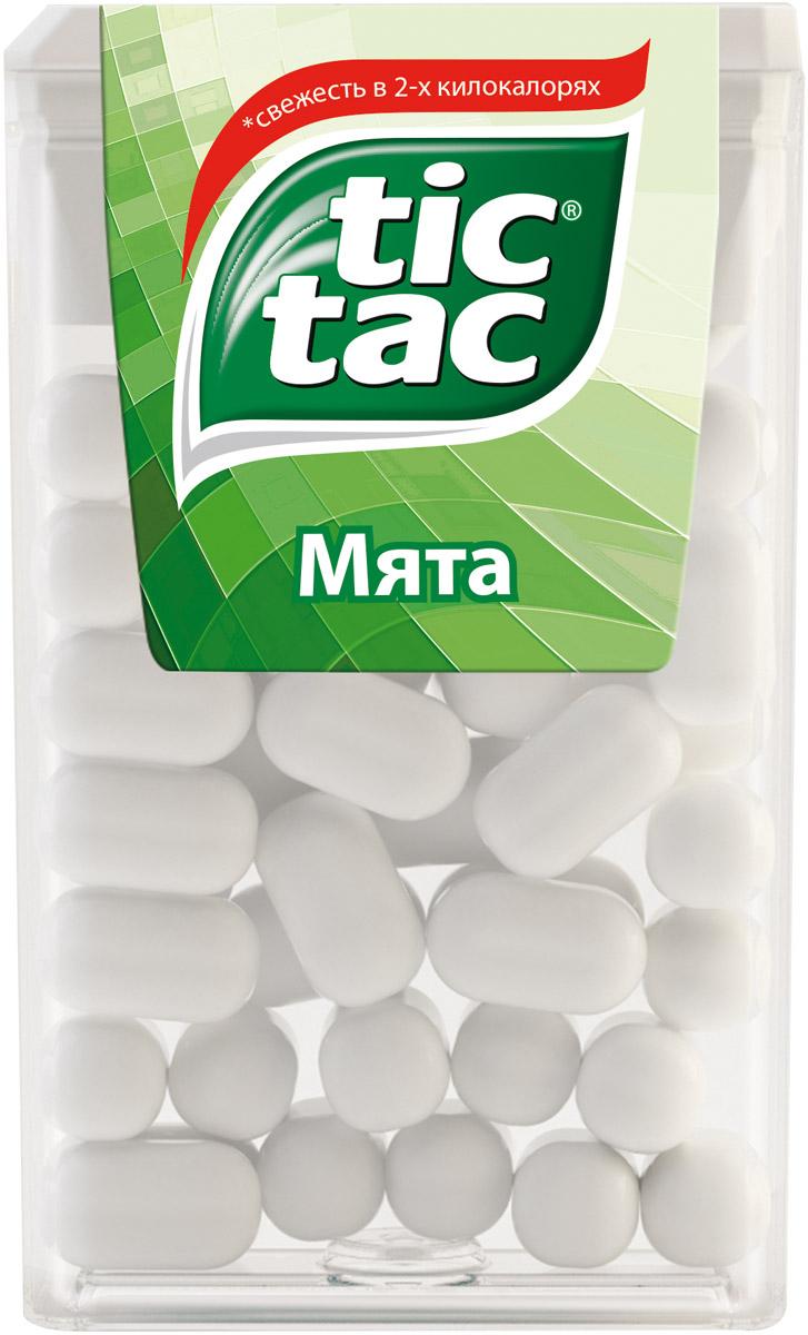 Tic Tac Мята драже, 16 г0120710Тик Так– это освежающее драже c ярким и бодрящим вкусом в удобной упаковке. Тик Так пришел на российский рынок в 90-ые годы 20 века и по сей день является любимым и хорошо знакомым взрослым и детям продуктом. Мята, Апельсин, Клубничный Микс и Мятный Микс – калейдоскоп вкусов Тик Так дарит заряд свежести и позитивной энергии. Под тонкой ванильной оболочкой скрывается уникальный вкус и источник свежести. Это больше, чем двойной эффект и второе дыхание! Яркое драже Тик Так с незабываемо свежими вкусами поможет наполнить твой день яркими моментами!