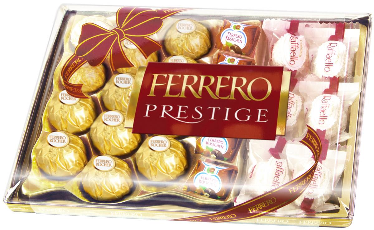 Ferrero Prestige набор конфет: Ferrero Rocher, Raffaello, Ferrero Kusschen, 254 г1108Ferrero Prestige – это коллекция лучших конфет компании Ferrero. Ferrero Rocher, Raffaello, Ferrero Kusschen: с кокосовой стружкой, с кремовыми наполнителями, с орехами, с фруктами, с шоколадной глазурью. Собранные все вместе в элегантной пластиковой упаковке, эти конфеты станут идеальным подарком для людей, которые ценят качество и разнообразие вкусов.