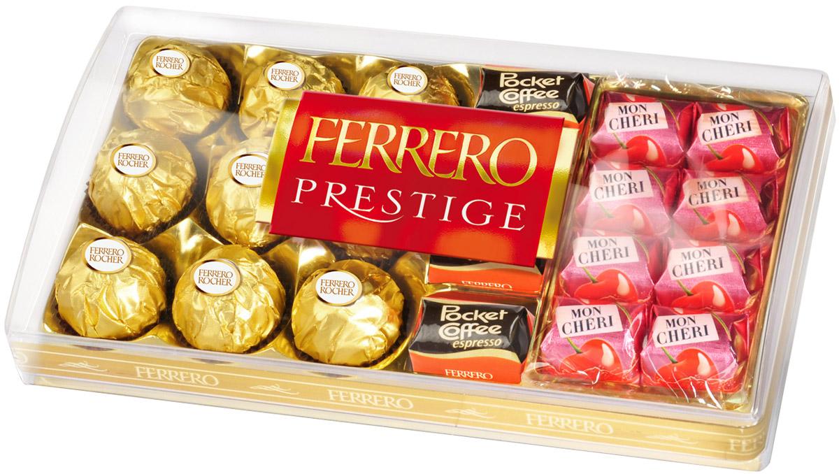 Ferrero Prestige набор конфет: Mon Cheri, Ferrero Rocher, Pocket Coffee Espresso, 246 г0120710Ferrero Prestige – это коллекция лучших конфет компании Ferrero. Ferrero Rocher, Pocket Coffee (конфета из темного шоколада с настоящим жидким кофе внутри), Ferrero Kusschen и Mon Cheri. Собранные все вместе в элегантной пластиковой упаковке, эти конфеты станут идеальным подарком для людей, которые ценят качество и разнообразие вкусов.