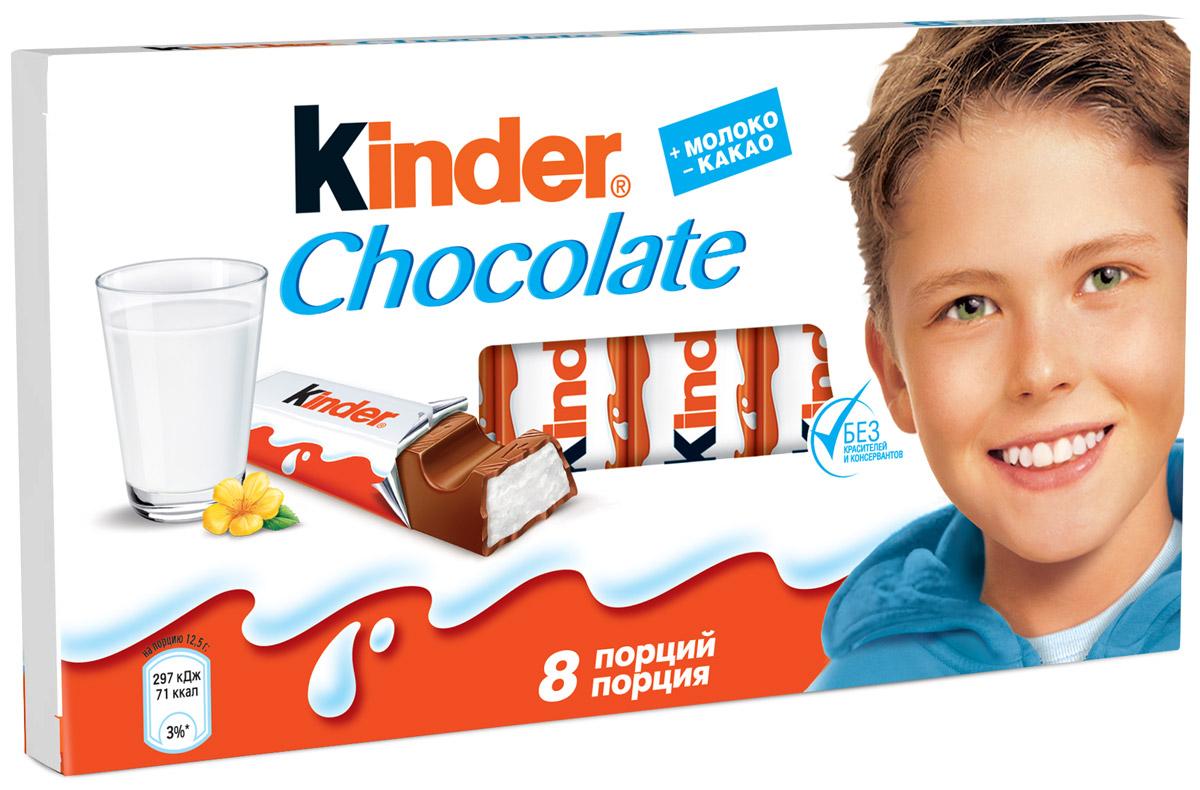 Kinder Chocolate с молочной начинкой, 100 г0120710Молочный шоколад высокого качества, который создан специально для детей. Благодаря своему уникальному рецепту – нежному молочному шоколаду с молочной начинкой – Kinder Chocolate идеально подходит для детей, когда им хочется сладостей, и для мам, так как индивидуально упакованные батончики Kinder позволяют родителям с легкостью контролировать потребление шоколада детьми от 3-х лет.