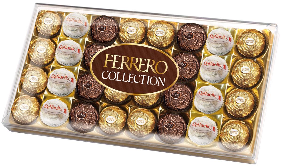 Ferrero Collection набор конфет: Raffaello, Ferrero Rocher, Ferrero Rondnoir, 360 г71567001490Собрание 3 великолепных вкусов Ferrero: сочетание лесного ореха и молочного шоколада в Ferrero Rocher, изысканный рецепт горького шоколада и миндального ореха в Ferrero Rondnoir и совершенный вкус фисташек в Ferrero Garden.
