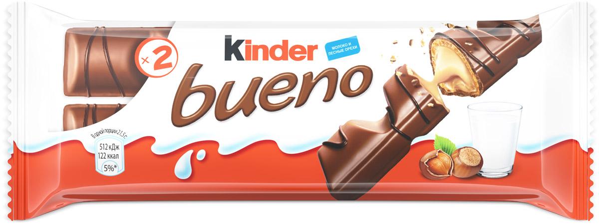 Kinder Bueno вафли в молочном шоколаде с молочно-ореховой начинкой, 43 г0120710Xрустящая вафля, покрытая молочным шоколадом с нежной молочно-ореховой начинкой.