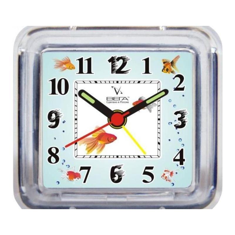 Часы-будильник Вега РыбкиБ1-024Настольные кварцевые часы Вега Рыбки изготовлены из прозрачного пластика. Часы имеют четыре стрелки - часовую, минутную, секундную и стрелку завода.Такие часы красиво и оригинально украсят интерьер дома или рабочий стол в офисе. Также часы могут стать уникальным, полезным подарком для родственников, коллег, знакомых и близких.Часы работают от батарейки типа АА (в комплект не входит). Имеется инструкция по эксплуатации на русском языке.