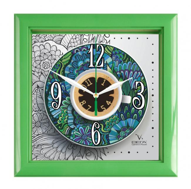 Часы настенные Вега Чайная пара, 21 х 21 х 4 см94672Настенные кварцевые часы Вега Чайная пара, изготовленные из пластика, прекрасно впишутся в интерьер вашего дома. Оригинальный дизайн циферблата, выполненный в виде чашечки чая на блюдце, послужит отличным украшением вашей кухни. Часы имеют три стрелки: часовую, минутную и секундную, циферблат защищен прозрачным стеклом.