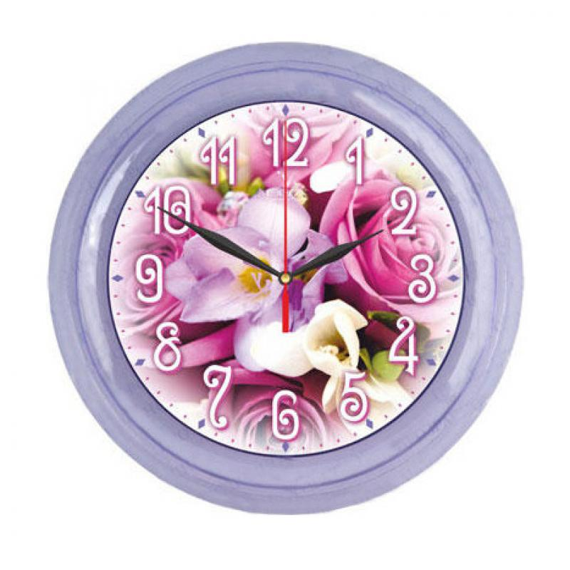 Часы настенные Вега Сиреневый букет, цвет: сиреневый54 009305Оригинальные настенные часы круглой формы Вега Сиреневый букет выполнены из пластика. Часы имеют три стрелки - часовую, минутную и секундную. Необычное дизайнерское решение и качество исполнения придутся по вкусу каждому. Оформите свой дом таким интерьерным аксессуаром или преподнесите его в качестве презента друзьям, и они оценят ваш оригинальный вкус и неординарность подарка. Часы работают от 1 батарейки типа АА напряжением 1,5 В (в комплект не входит).