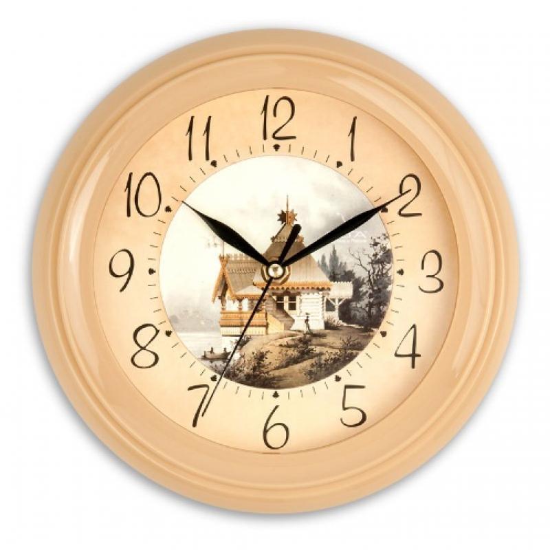 Часы настенные Вега Домик в деревнеП6-14-9Оригинальные настенные часы круглой формы Вега Домик в деревне выполнены из пластика. Часы имеют три стрелки - часовую, минутную и секундную. Необычное дизайнерское решение и качество исполнения придутся по вкусу каждому. Оформите свой дом таким интерьерным аксессуаром или преподнесите его в качестве презента друзьям, и они оценят ваш оригинальный вкус и неординарность подарка.Часы работают от 1 батарейки типа АА напряжением 1,5 В (в комплект не входит).