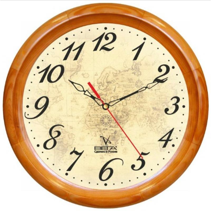 Часы настенные Вега Карта. Д1НД/7-97Д1НД/7-97Оригинальные настенные часы круглой формы Вега Карта выполнены из дерева и пластика. Часы имеют три стрелки - часовую, минутную и секундную. Необычное дизайнерское решение и качество исполнения придутся по вкусу каждому. Оформите свой дом таким интерьерным аксессуаром или преподнесите его в качестве презента друзьям, и они оценят ваш оригинальный вкус и неординарность подарка.Часы работают от 1 батарейки типа АА напряжением 1,5 В (в комплект не входит).