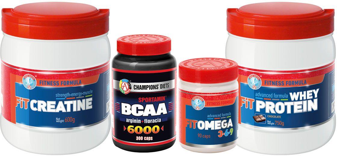 Набор спортивного питания Академия-Т Mens setП0002Специально подобранный состав для настоящих мужчин. Незаменимые аминокислоты, креатин, комплекс полиненасыщенных жирных кислот ивысококачественный сывороточный протеин помогут увеличить силу и выносливость мышц, снизить количество подкожного жира, повысить работоспособность и устойчивость мышц к высоким физическимнагрузкам, ускорят восстановление после интенсивных тренировок. SPORTAMIN® ВСАА 6000 Сбалансированный продукт для спортивного питания, не имеющий аналогов по своему составу, сочетает в себе три ценнейших компонента: ВСАА, Аргинин и периодик Floracia™. Незаменимый продукт в качестве источника аминокислот и альтернативного источника энергии при истощении гликогена. Повышает энергопотенциал белковых клеток, снижает уровень катаболизма, ускоряет процессы восстановления, стимулирует рост мышечной массы. FIT CREATINE - высококачественный креатин моногидрат. Способствует увеличениюмышечной массы, силы и выносливости при кратковременных тренировках повышенной интенсивности. FIT OMEGA 3-6-9 - высокотехнологичная формула полиненасыщенных жирных кислот, защищенных мощным природным антиоксидантом дигидрокверцетином. Способствует повышению иммунитета, нормализации работы сердечно-сосудистой системы, улучшению когнитивных функций, увеличению скорости обмена веществ, улучшает тонус кожи. FIT WHEY PROTEIN Разработка специалистов в области спортивной нутрициологии. Формула на основе высококачественного белка молочной сыворотки, обогащенная пребиотиком, витаминно-минеральным премиксом и папаином для максимального усвоения белка. Способствует наращиваниюмышечной массы и улучшению силовых показателей. Воздействует на зоны роста мышечных клеток и активизирует синтез мышечного белка.Товар не является лекарственным средством.Товар не рекомендован для лиц младше 18 лет.Могут быть противопоказания и следует предварительно проконсультироваться со специалистом.