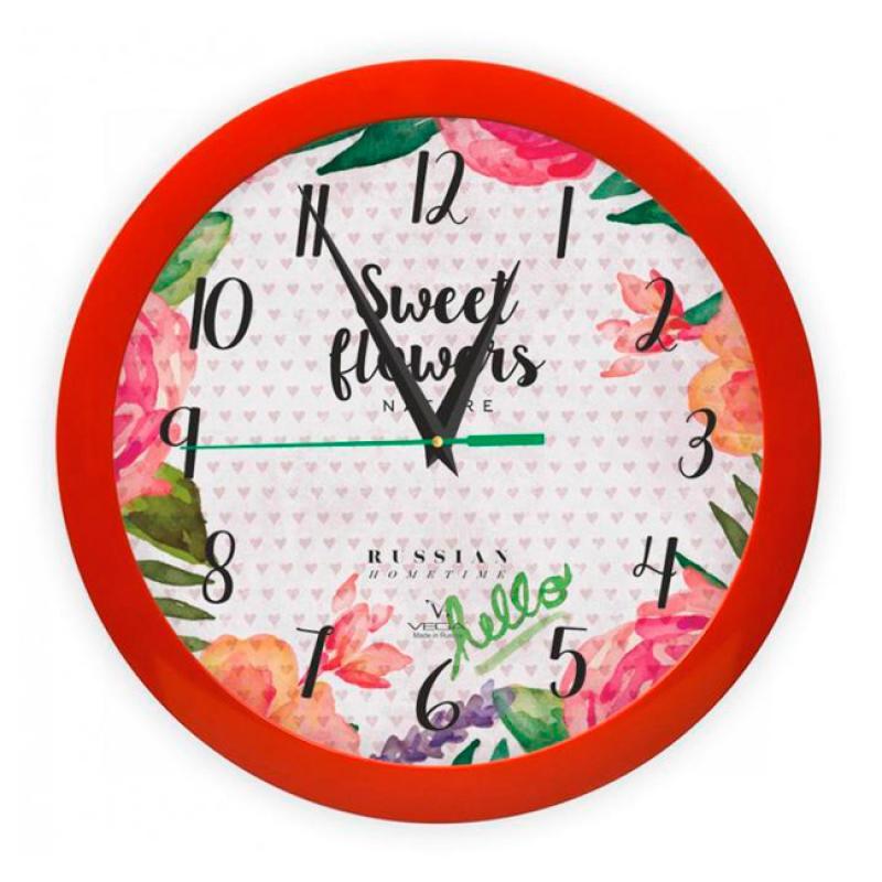 Часы настенные Вега Цветы и сердца94672Оригинальные настенные часы круглой формы Вега Цветы и сердцавыполнены из пластика. Часы имеют три стрелки - часовую, минутную и секундную. Необычное дизайнерское решение и качество исполнения придутся по вкусу каждому. Оформите свой дом таким интерьерным аксессуаром или преподнесите его в качестве презента друзьям, и они оценят ваш оригинальный вкус и неординарность подарка.Часы работают от 1 батарейки типа АА напряжением 1,5 В (в комплект не входит).