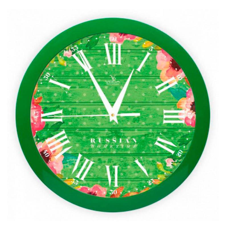 Часы настенные Вега Яркие краски, цвет: зеленыйП1-3/7-285Оригинальные настенные часы круглой формы Вега Яркие краски выполнены из пластика. Часы имеют три стрелки - часовую, минутную и секундную. Необычное дизайнерское решение и качество исполнения придутся по вкусу каждому. Оформите свой дом таким интерьерным аксессуаром или преподнесите его в качестве презента друзьям, и они оценят ваш оригинальный вкус и неординарность подарка.Часы работают от 1 батарейки типа АА напряжением 1,5 В (в комплект не входит).