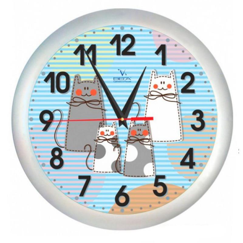 Часы настенные Вега Коты94672Оригинальные настенные часы круглой формы Вега Коты выполнены из пластика. Часы имеют три стрелки - часовую, минутную и секундную. Необычное дизайнерское решение и качество исполнения придутся по вкусу каждому. Оформите свой дом таким интерьерным аксессуаром или преподнесите его в качестве презента друзьям, и они оценят ваш оригинальный вкус и неординарность подарка.Часы работают от 1 батарейки типа АА напряжением 1,5 В (в комплект не входит).