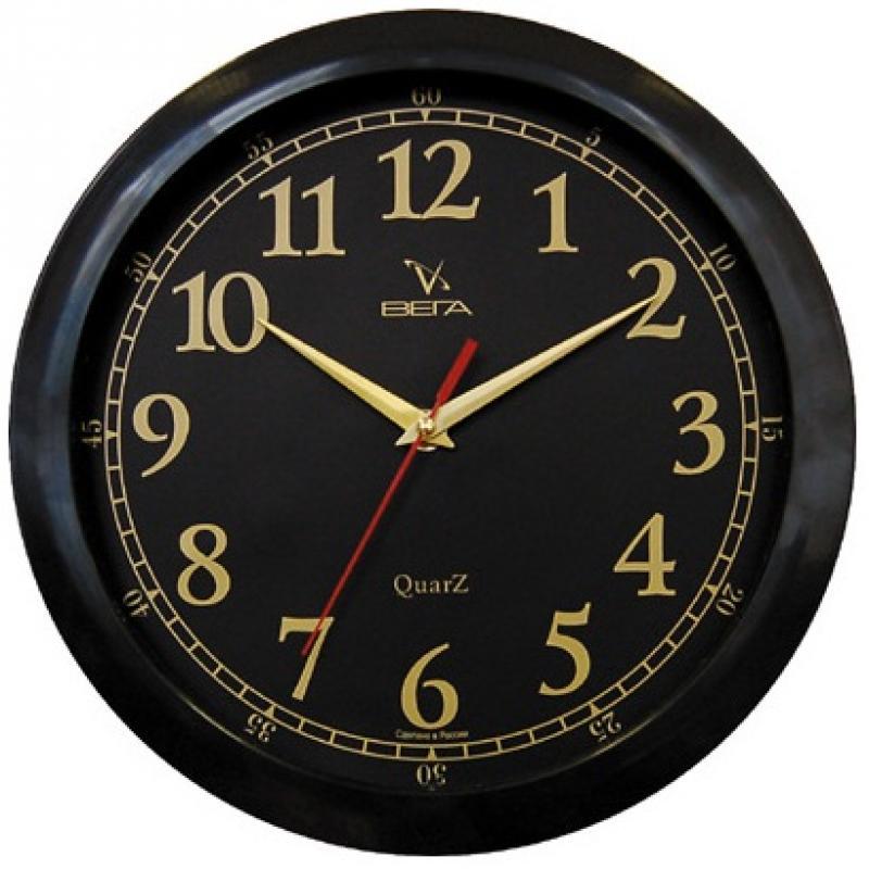 Часы настенные Вега Классика, цвет: черный. П1-6/6-1794672Оригинальные настенные часы круглой формы Вега Классика выполнены из пластика. Часы имеют три стрелки - часовую, минутную и секундную. Необычное дизайнерское решение и качество исполнения придутся по вкусу каждому. Оформите свой дом таким интерьерным аксессуаром или преподнесите его в качестве презента друзьям, и они оценят ваш оригинальный вкус и неординарность подарка.Часы работают от 1 батарейки типа АА напряжением 1,5 В (в комплект не входит).