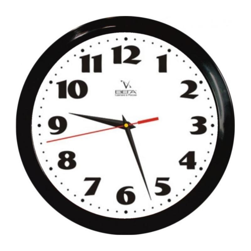 Часы настенные Вега Классика, цвет: черный. П1-6/6-4554 009312Оригинальные настенные часы круглой формы Вега Классика выполнены из пластика. Часы имеют три стрелки - часовую, минутную и секундную. Необычное дизайнерское решение и качество исполнения придутся по вкусу каждому. Оформите свой дом таким интерьерным аксессуаром или преподнесите его в качестве презента друзьям, и они оценят ваш оригинальный вкус и неординарность подарка.Часы работают от 1 батарейки типа АА напряжением 1,5 В (в комплект не входит).
