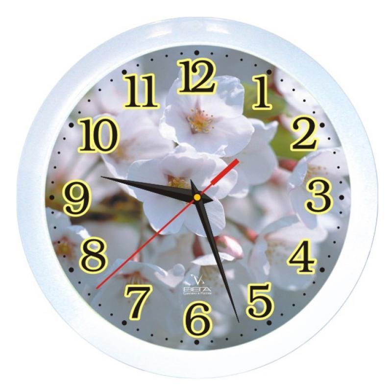 Часы настенные Вега Цветы яблони94672Оригинальные настенные часы круглой формы Вега Цветы яблонивыполнены из пластика. Часы имеют три стрелки - часовую, минутную и секундную. Необычное дизайнерское решение и качество исполнения придутся по вкусу каждому. Оформите свой дом таким интерьерным аксессуаром или преподнесите его в качестве презента друзьям, и они оценят ваш оригинальный вкус и неординарность подарка.Часы работают от 1 батарейки типа АА напряжением 1,5 В (в комплект не входит).