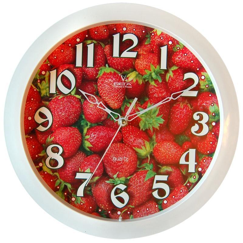 Часы настенные Вега Клубника. П1-7/7-3094672Оригинальные настенные часы круглой формы Вега Клубника выполнены из пластика. Часы имеют три стрелки - часовую, минутную и секундную. Необычное дизайнерское решение и качество исполнения придутся по вкусу каждому. Оформите свой дом таким интерьерным аксессуаром или преподнесите его в качестве презента друзьям, и они оценят ваш оригинальный вкус и неординарность подарка.Часы работают от 1 батарейки типа АА напряжением 1,5 В (в комплект не входит).