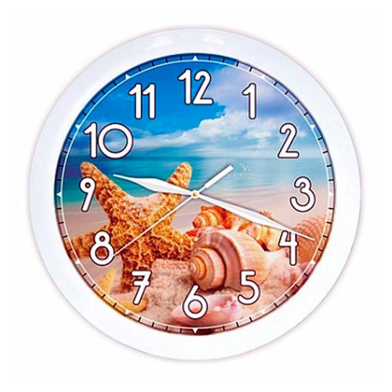 Часы настенные Вега Морской берег54 009305Оригинальные настенные часы круглой формы Вега Морской берег выполнены из пластика. Часы имеют три стрелки - часовую, минутную и секундную. Необычное дизайнерское решение и качество исполнения придутся по вкусу каждому. Оформите свой дом таким интерьерным аксессуаром или преподнесите его в качестве презента друзьям, и они оценят ваш оригинальный вкус и неординарность подарка.Часы работают от 1 батарейки типа АА напряжением 1,5 В (в комплект не входит).