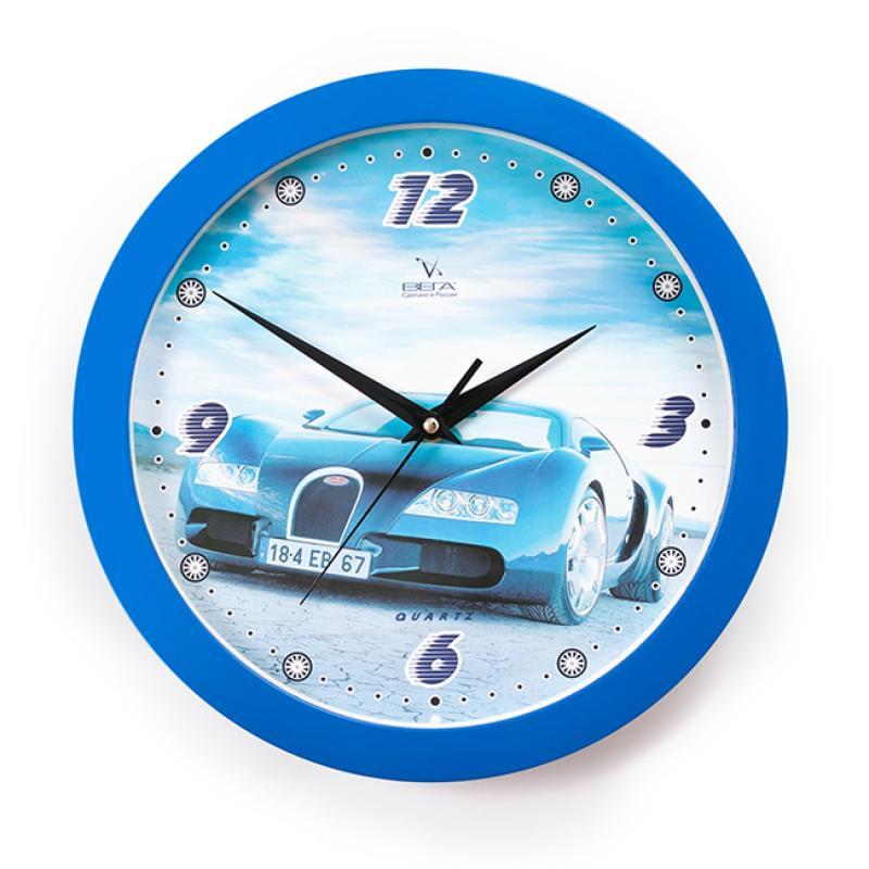 Часы настенные Вега Синяя машина94672Оригинальные настенные часы круглой формы Вега Синяя машина выполнены из пластика. Часы имеют три стрелки - часовую, минутную и секундную. Необычное дизайнерское решение и качество исполнения придутся по вкусу каждому. Оформите свой дом таким интерьерным аксессуаром или преподнесите его в качестве презента друзьям, и они оценят ваш оригинальный вкус и неординарность подарка.Часы работают от 1 батарейки типа АА напряжением 1,5 В (в комплект не входит).