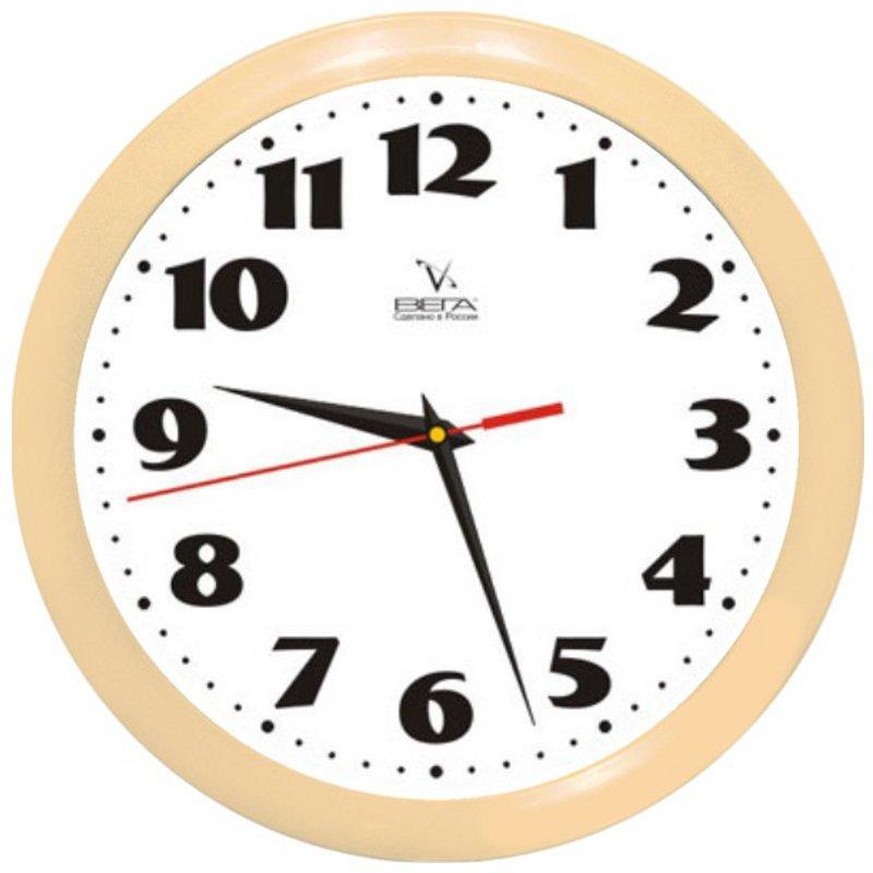 Часы настенные Вега Классика, цвет: бежевый. П1-14/7-4594672Оригинальные настенные часы круглой формы Вега Классика выполнены из пластика. Часы имеют три стрелки - часовую, минутную и секундную. Необычное дизайнерское решение и качество исполнения придутся по вкусу каждому. Оформите свой дом таким интерьерным аксессуаром или преподнесите его в качестве презента друзьям, и они оценят ваш оригинальный вкус и неординарность подарка.Часы работают от 1 батарейки типа АА напряжением 1,5 В (в комплект не входит).