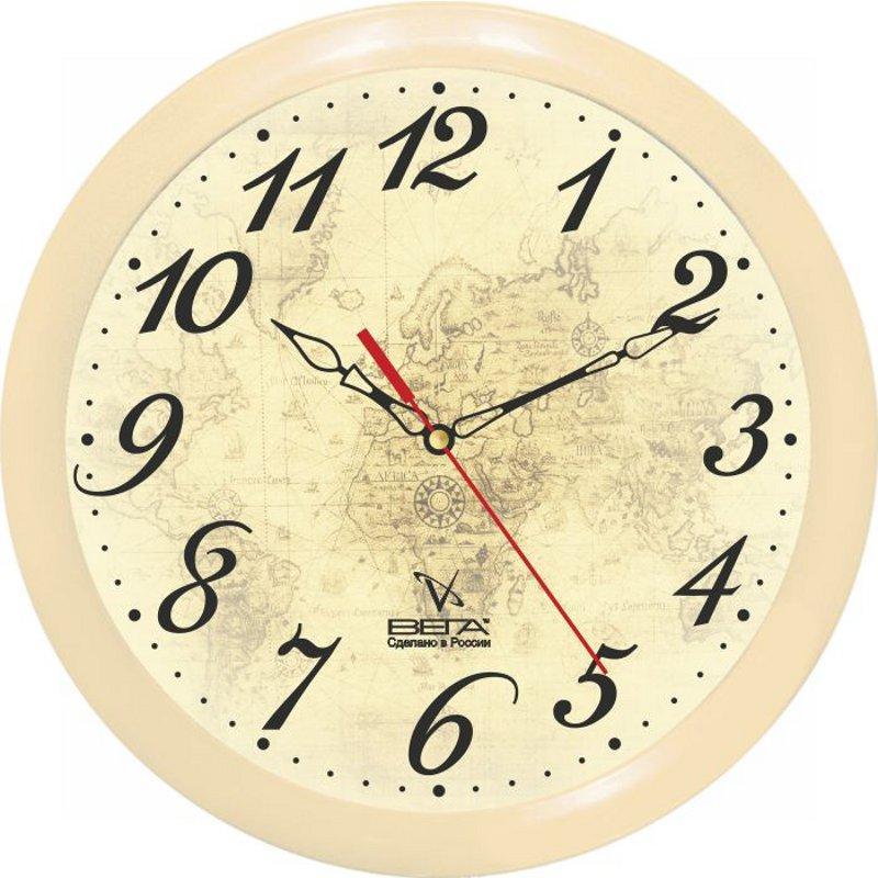 Часы настенные Вега Классика, цвет: бежевый. П1-14/7-9794672Оригинальные настенные часы круглой формы Вега Классика выполнены из пластика. Часы имеют три стрелки - часовую, минутную и секундную. Необычное дизайнерское решение и качество исполнения придутся по вкусу каждому. Оформите свой дом таким интерьерным аксессуаром или преподнесите его в качестве презента друзьям, и они оценят ваш оригинальный вкус и неординарность подарка.Часы работают от 1 батарейки типа АА напряжением 1,5 В (в комплект не входит).
