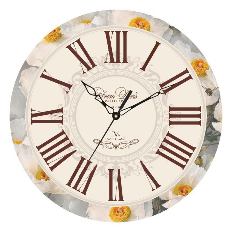 Часы настенные Вега Цветочная классикаП1-245/7-245Оригинальные настенные часы круглой формы Вега Цветочная классикавыполнены из пластика. Часы имеют три стрелки - часовую, минутную и секундную. Необычное дизайнерское решение и качество исполнения придутся по вкусу каждому. Оформите свой дом таким интерьерным аксессуаром или преподнесите его в качестве презента друзьям, и они оценят ваш оригинальный вкус и неординарность подарка.Часы работают от 1 батарейки типа АА напряжением 1,5 В (в комплект не входит).