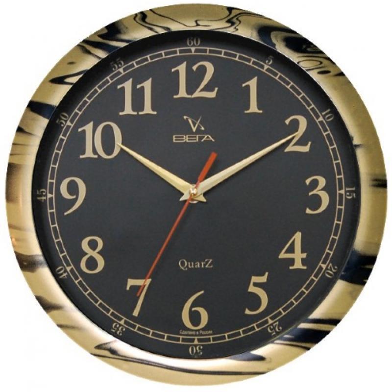 Часы настенные Вега Классика, цвет: черный. П1-681/6-1794672Оригинальные настенные часы круглой формы Вега Классика выполнены из пластика. Часы имеют три стрелки - часовую, минутную и секундную. Необычное дизайнерское решение и качество исполнения придутся по вкусу каждому. Оформите свой дом таким интерьерным аксессуаром или преподнесите его в качестве презента друзьям, и они оценят ваш оригинальный вкус и неординарность подарка.Часы работают от 1 батарейки типа АА напряжением 1,5 В (в комплект не входит).