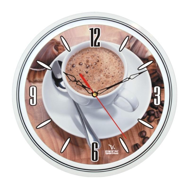 Часы настенные Вега Кофе43300074_ежевикаОригинальные настенные часы круглой формы Вега Кофе43 выполнены из пластика. Часы имеют три стрелки - часовую, минутную и секундную. Необычное дизайнерское решение и качество исполнения придутся по вкусу каждому. Оформите свой дом таким интерьерным аксессуаром или преподнесите его в качестве презента друзьям, и они оценят ваш оригинальный вкус и неординарность подарка.Часы работают от 1 батарейки типа АА напряжением 1,5 В (в комплект не входит).