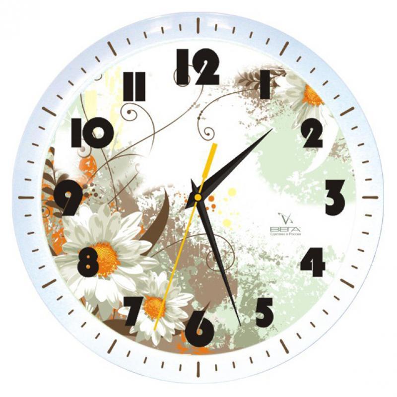 Часы настенные Вега Ромашковое настроениеП1-798/7-49Оригинальные настенные часы круглой формы Вега Ромашковое настроение выполнены из пластика. Часы имеют три стрелки - часовую, минутную и секундную. Необычное дизайнерское решение и качество исполнения придутся по вкусу каждому. Оформите свой дом таким интерьерным аксессуаром или преподнесите его в качестве презента друзьям, и они оценят ваш оригинальный вкус и неординарность подарка.Часы работают от 1 батарейки типа АА напряжением 1,5 В (в комплект не входит).