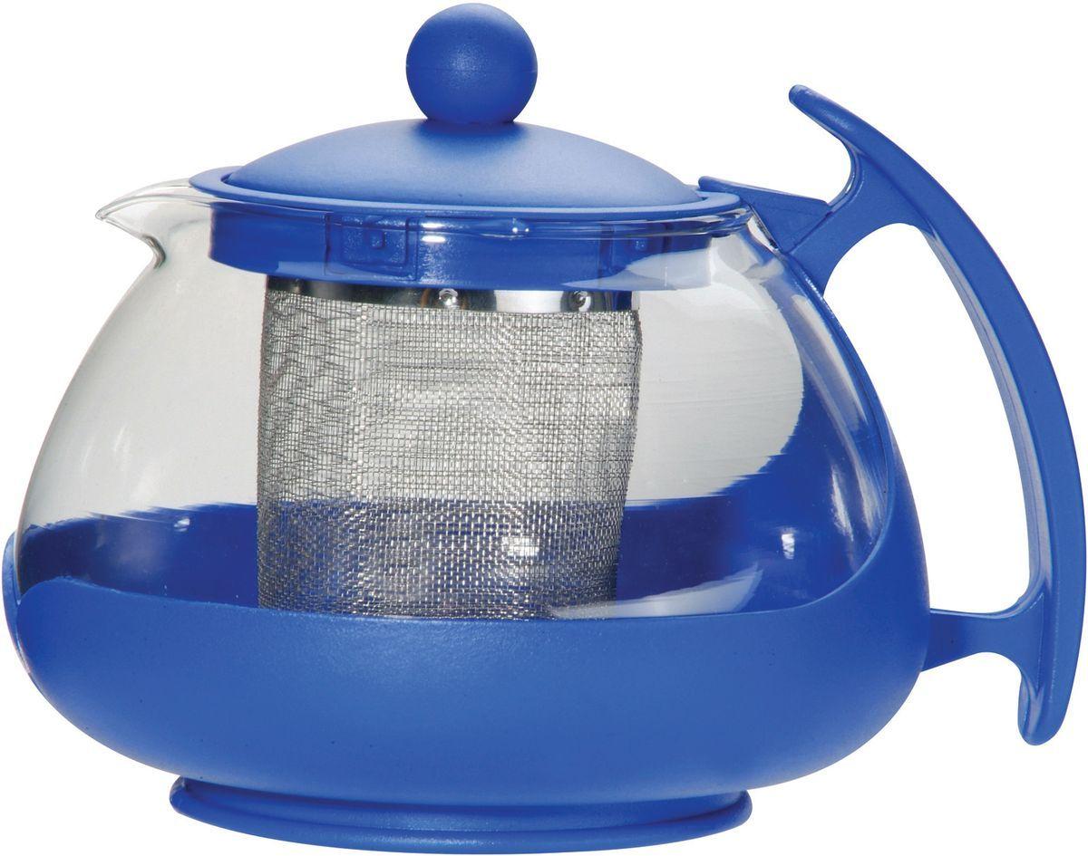 Чайник заварочный Bekker, с фильтром, цвет: прозрачный, синий, 750 мл. BK-307115510Заварочный чайник Bekker изготовлен из высококачественного стекла и пластика. Изделие оснащено сетчатым металлическим фильтром, который задерживает чаинки и предотвращает их попадание в чашку, а прозрачные стенки дадут возможность наблюдать за насыщением напитка.Чай в таком чайнике дольше остается горячим, а полезные и ароматические вещества полностью сохраняются в напитке.