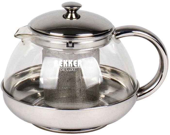 Чайник заварочный Bekker, с фильтром, 500 мл. BK-3971650770Заварочный чайник Bekker изготовлен из высококачественной нержавеющей стали и стекла. Изделие оснащено сетчатым фильтром, который задерживает чаинки и предотвращает их попадание в чашку, а прозрачные стенки дадут возможность наблюдать за насыщением напитка.Чай в таком чайнике дольше остается горячим, а полезные и ароматические вещества полностью сохраняются в напитке.