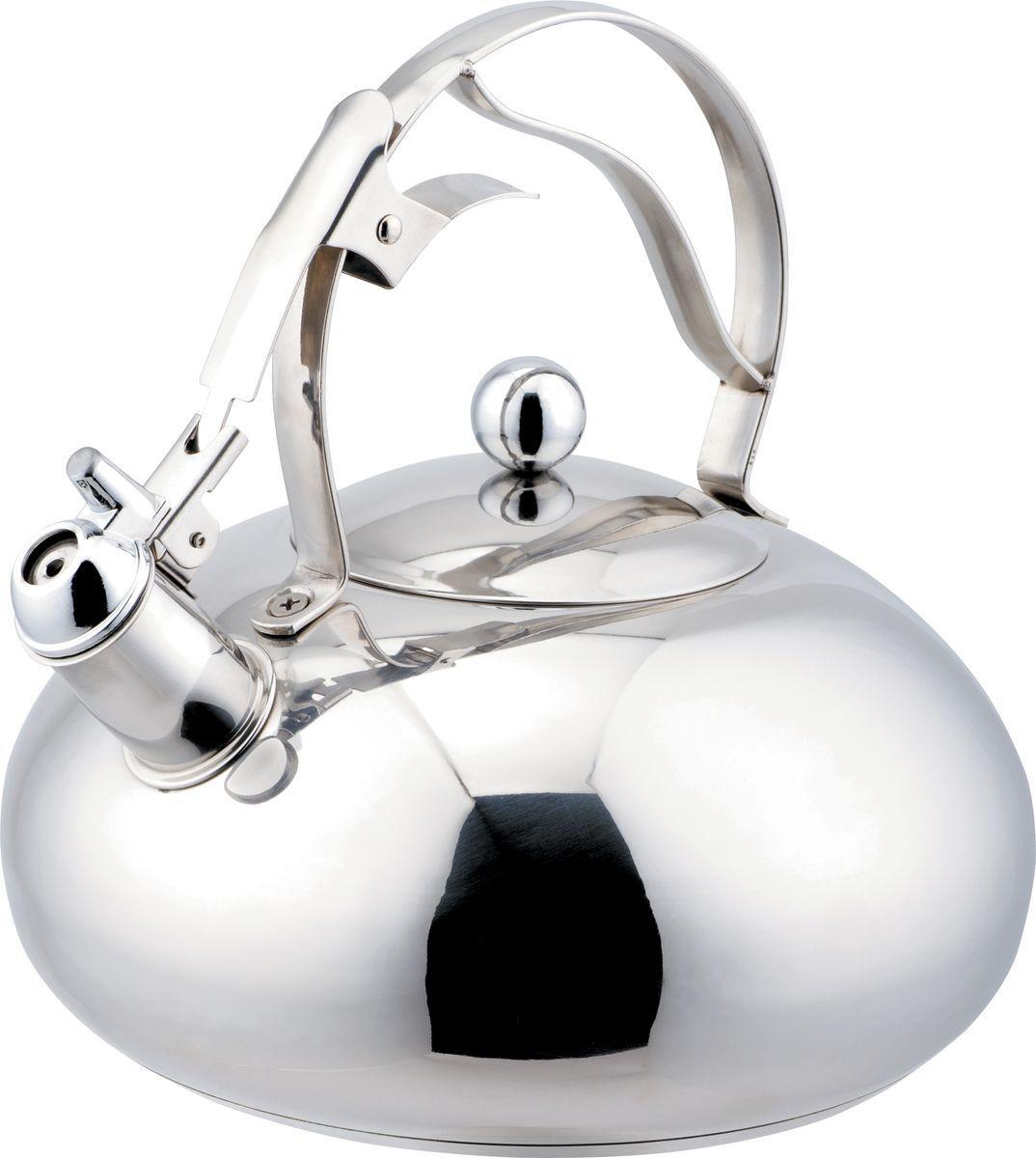 Чайник Bekker Koch, со свистком, 3 л. BK-S43368/5/2Чайник Bekker Koch изготовлен из высококачественной нержавеющей стали с зеркальной полировкой. Цельнометаллическое дно распределяет тепло по всей поверхности, что позволяет чайнику быстро закипать. Эргономичная фиксированная ручка выполнена из нержавеющей стали. Широкое отверстие по верхнему краю позволяет удобно наливать воду. Свисток открывается и закрывается нажатием кнопки на рукоятке. Подходит для всех типов плит, включая индукционные. Можно мыть в посудомоечной машине.Диаметр (по верхнему краю): 11 см. Диаметр основания: 18 см. Толщина стенки: 0,65 мм.Высота чайника (без учета ручки): 10 см. Высота чайника (с учетом ручки): 22 см.