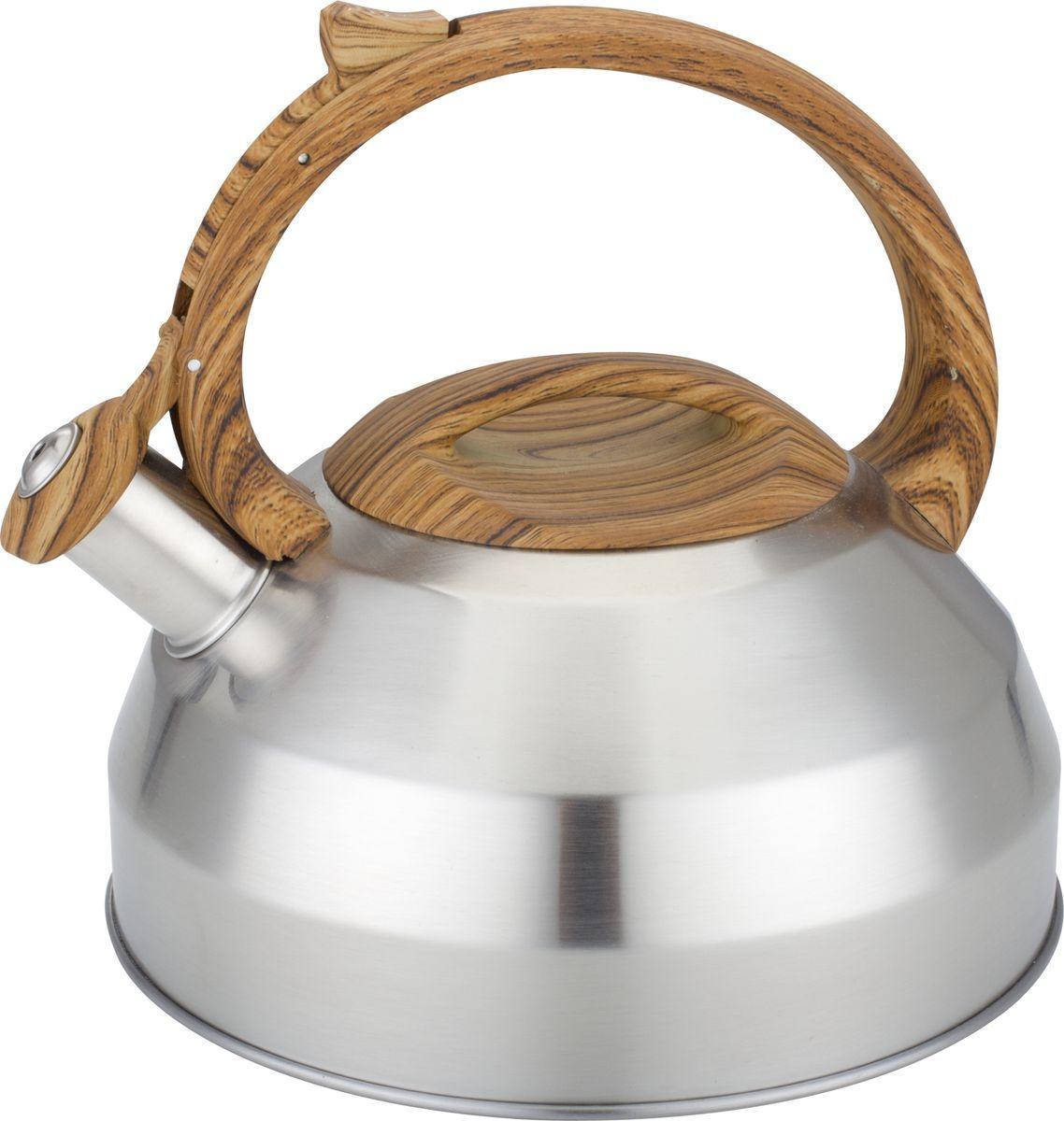 Чайник Bekker, со свистком, 3 л. BK-S58668/5/4Чайник Bekker изготовлен из высококачественной нержавеющей стали 18/10. Внешняя поверхность матовая с зеркальной полоской по нижнему краю. Капсулированное дно распределяет тепло по всей поверхности, что позволяет чайнику быстро закипать. Эргономичная фиксированная ручка выполнена из нержавеющей стали и бакелита с прорезиненным цветным покрытием. Носик оснащен откидным свистком, который подскажет, когда закипела вода. Свисток открывается нажатием на рукоятку. Подходит для газовых, стеклокерамических, галогеновых, электрических плит. Не подходит для индукционных. Можно мыть в посудомоечной машине