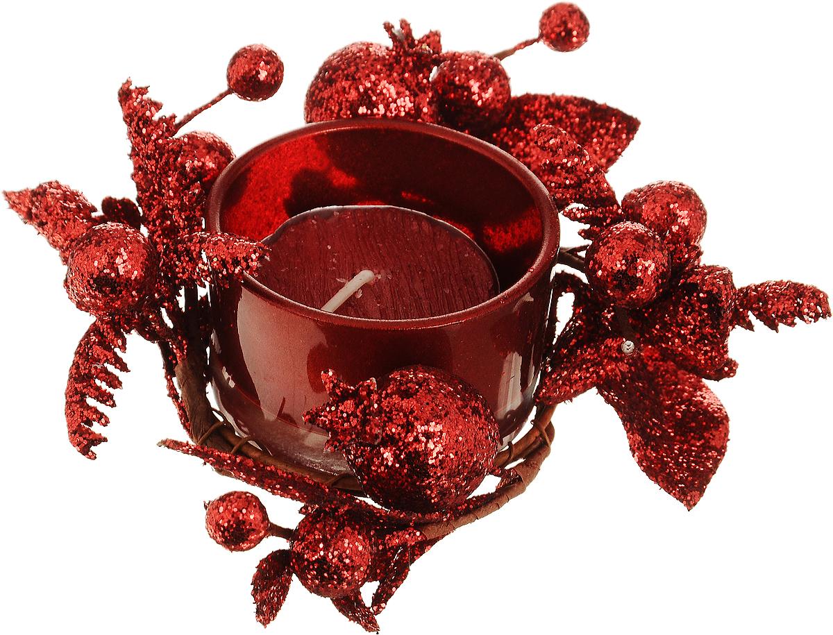 Подсвечник Lovemark Ягоды, со свечойRG-D31SПодсвечник Lovemark представляет собой стеклянную емкость для чайной свечи, оформленную изысканным декоративным элементом в виде веточки с листочками и ягодами. Композиция покрыта блестками, что придает изделию особый шарм и изысканность. Чайная свеча красного цвета входит в комплект. Такой подсвечник элегантно оформит интерьер вашего дома. Мерцание свечи создаст атмосферу романтики и уюта. Диаметр емкости (по верхнему краю): 5 см. Высота емкости: 3 см. Диаметр свечи: 3,5 см.
