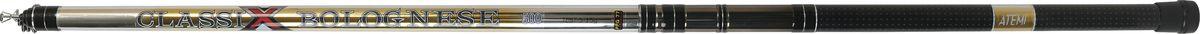 Удилище телескопическое Atemi Classix Bolognese, облегченное, с керамическими кольцами, 5 м, 5-15 г55000Atemi Classix Bolognese - это телескопическое удилище, выполненное из облегченного стекловолокна. На рукоять нанесено противоскользящее покрытие. И установлен быстродействующий катушкодержатель типа CLIP UP. Удилище укомплектовано элегантными облегченными кольцами на высоких ножках.